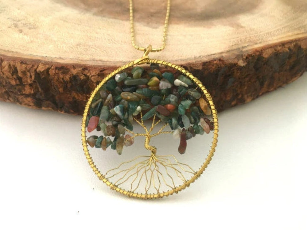 Natural Agate Tree of Life Necklace