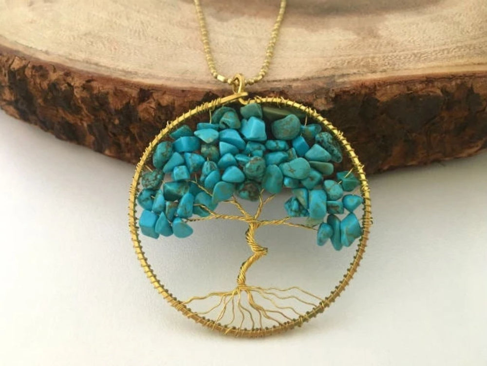 Turquoise Gemstone Tree of Life Necklace