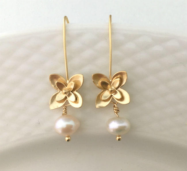 Gold Threader & Pearl Drop Earrings by Handmade Dezigns