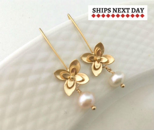 Real Pearl Gold Threader Earrings by Handmade Dezigns