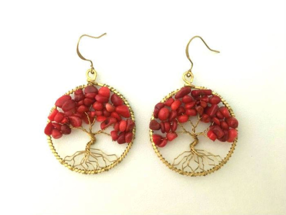 Coral Tree of Life Earrings