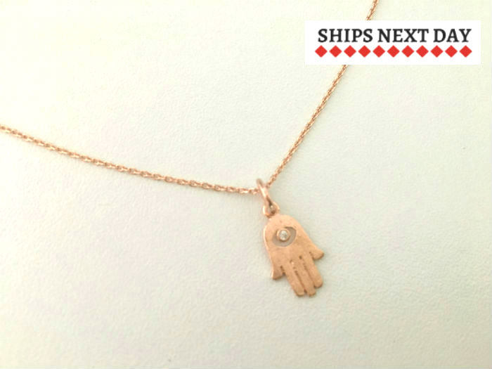 Rose Gold Hamsa Necklace by Handmade Dezigns
