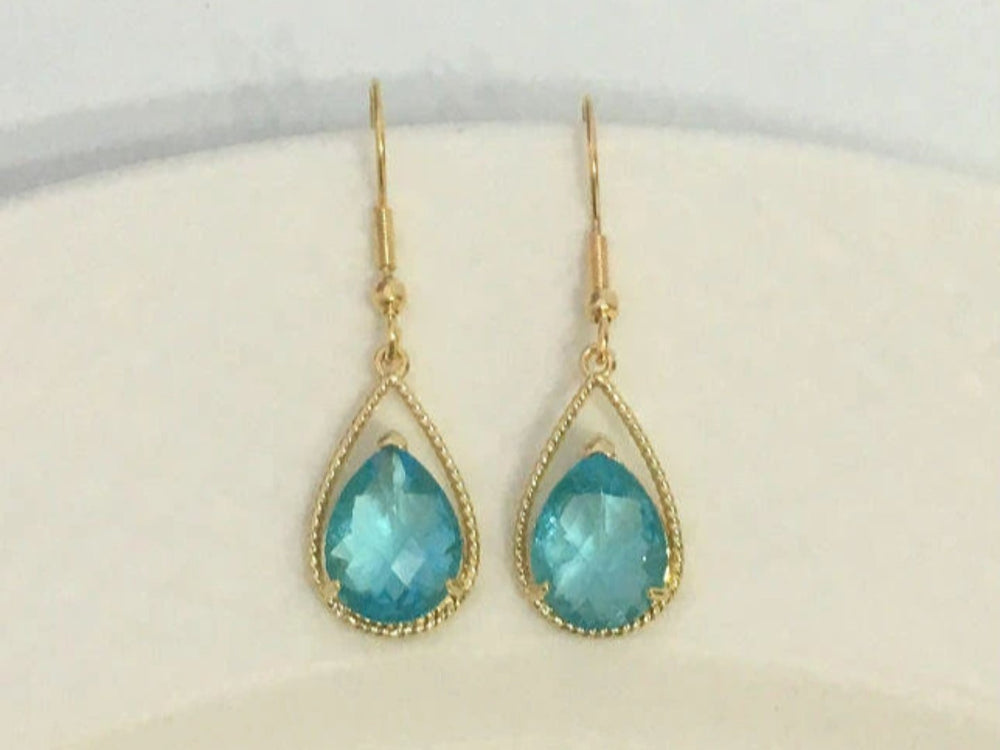 Aqua Faceted Teardrop Earrings