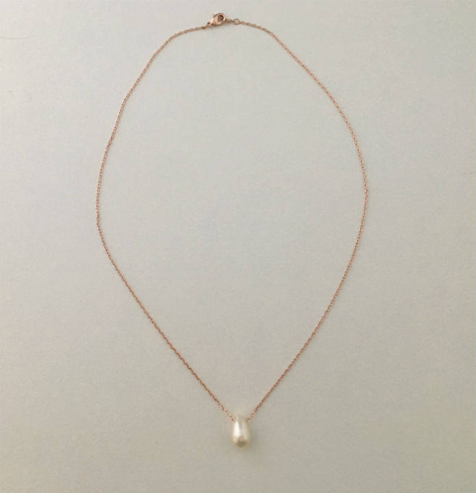 Real Teardrop Pearl Rose Gold Necklace by Handmade Dezigns