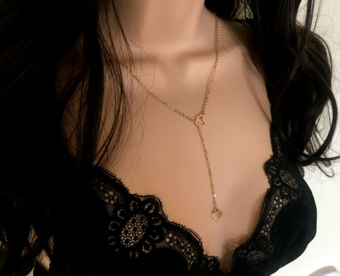Gold Heart Chain Lariat