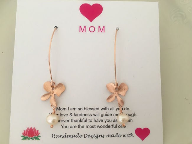 Rose Gold Threader Flower Drop Earrings