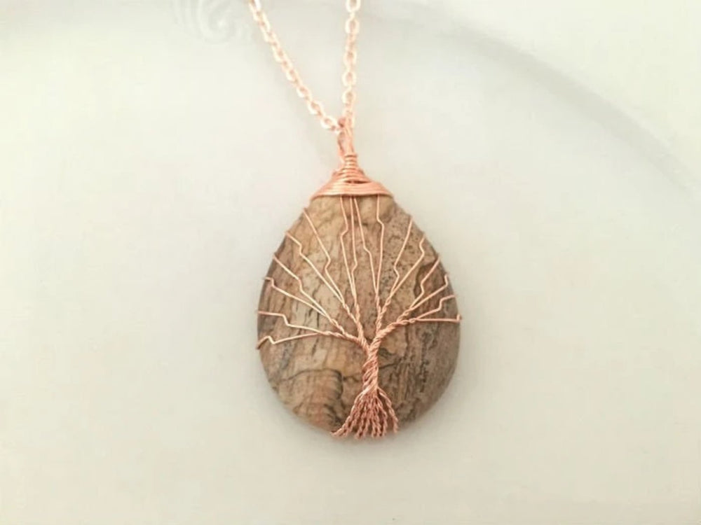 Jasper Gemstone Tree Necklace
