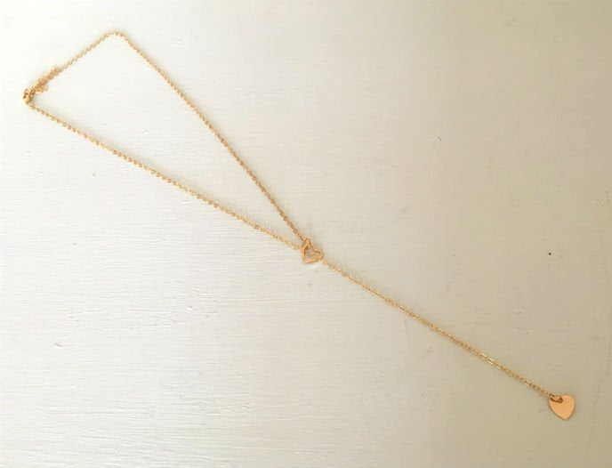 Thin  Gold Chain Lariat by Handmade Dezigns