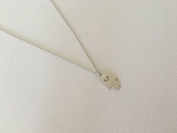 Teeny Tiny Silver Hamsa Choker Necklace by Handmade Dezigns