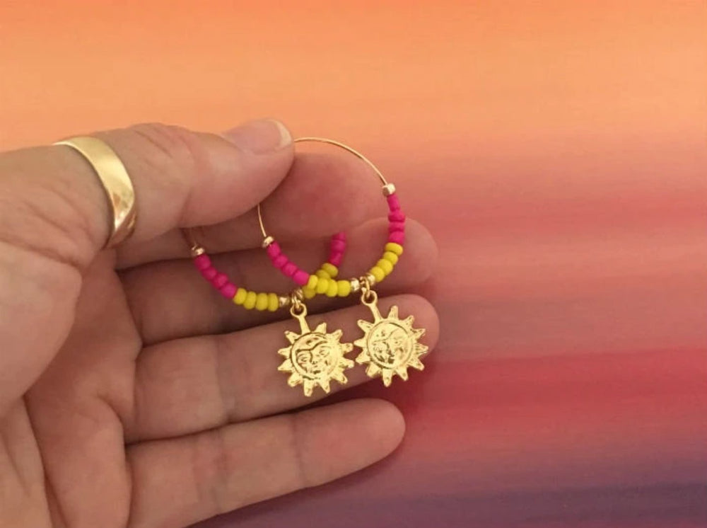 Beaded & Gold Hoop Earrings with Sun Charm by Handmade Dezigns