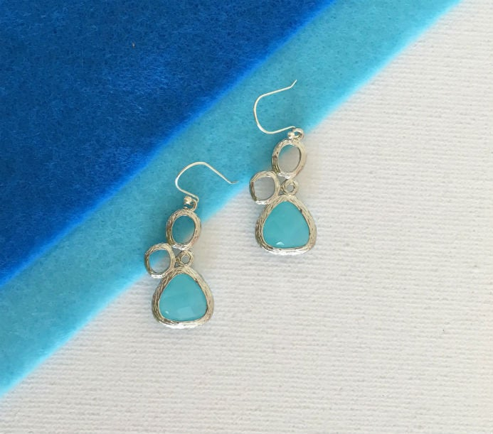 Very Tiny Laguna Blue & Silver Drop Earrings by Handmade Dezigns