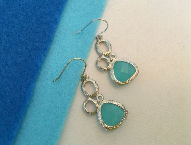 Tiny Aqua Blue Drop Earrings