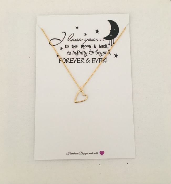 Gold Heart Necklace by Handmade Dezigns
