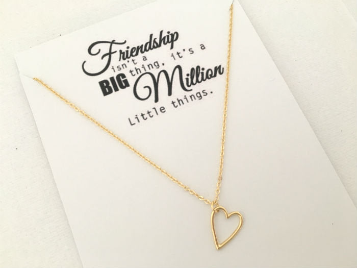 Friendship Necklace Open Heart by Handmade Dezigns