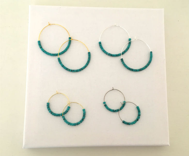 Raw Turquoise Hoop Earrings by Handmade Dezigns