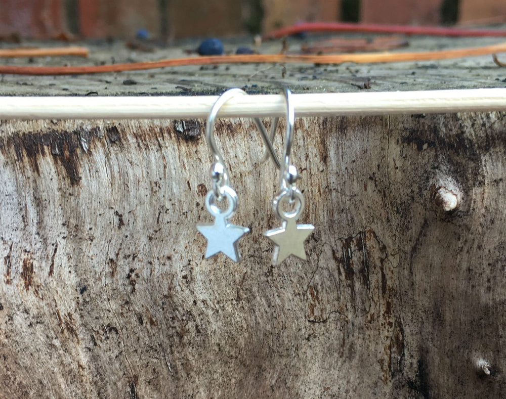 Tiny Sterling Silver Star Earrings by Handmade Dezigns