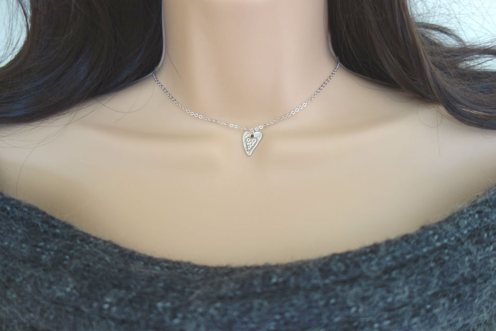 Silver Heart Choker Necklace by Handmade Dezigns