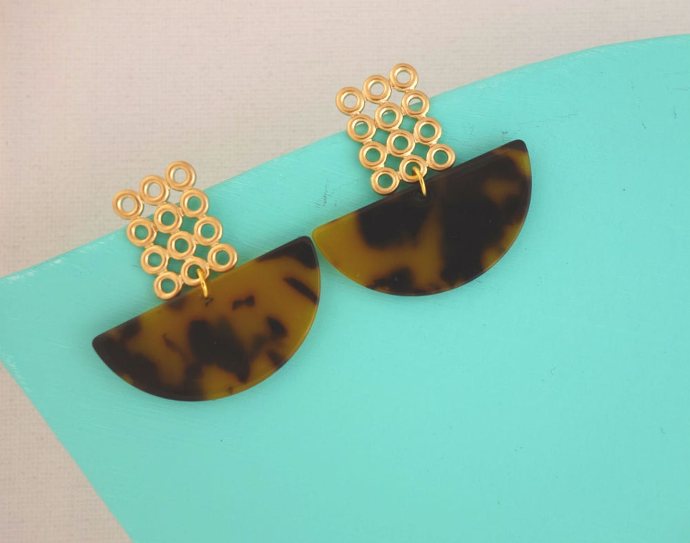 Acetate Crescent Moon Earrings by Handmade Dezigns