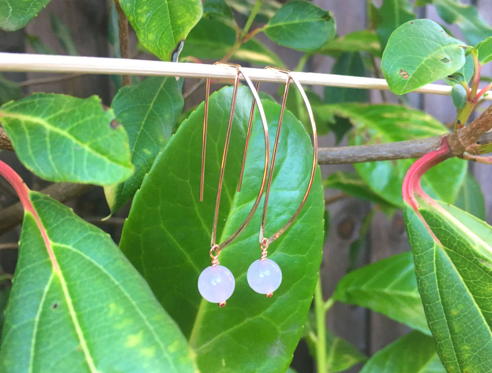 Rose Quartz Geometric Earrings by Handmade Dezigns