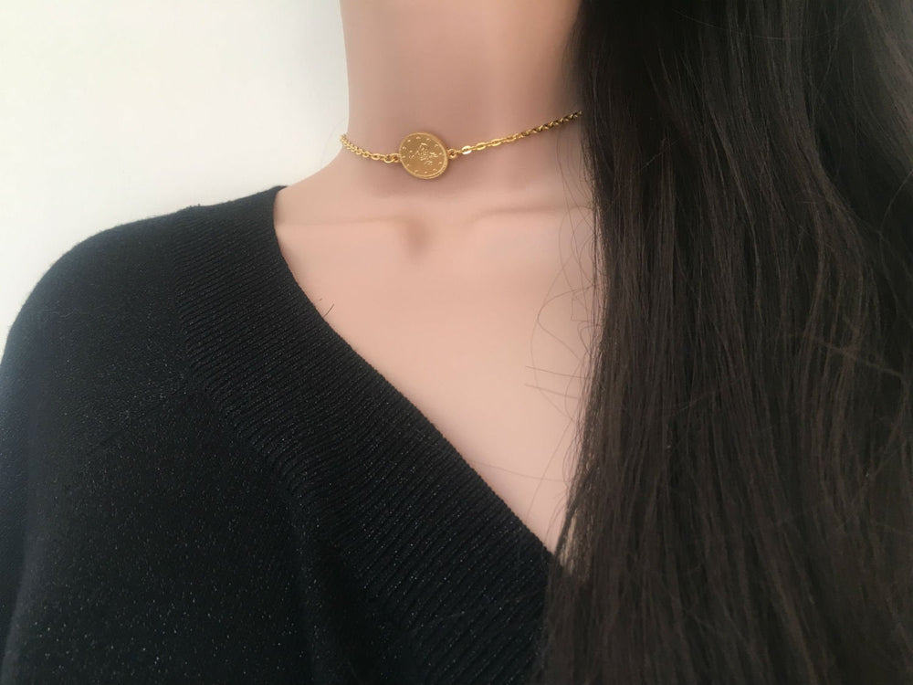 Gold Coin Choker Necklace by Handmade Dezigns