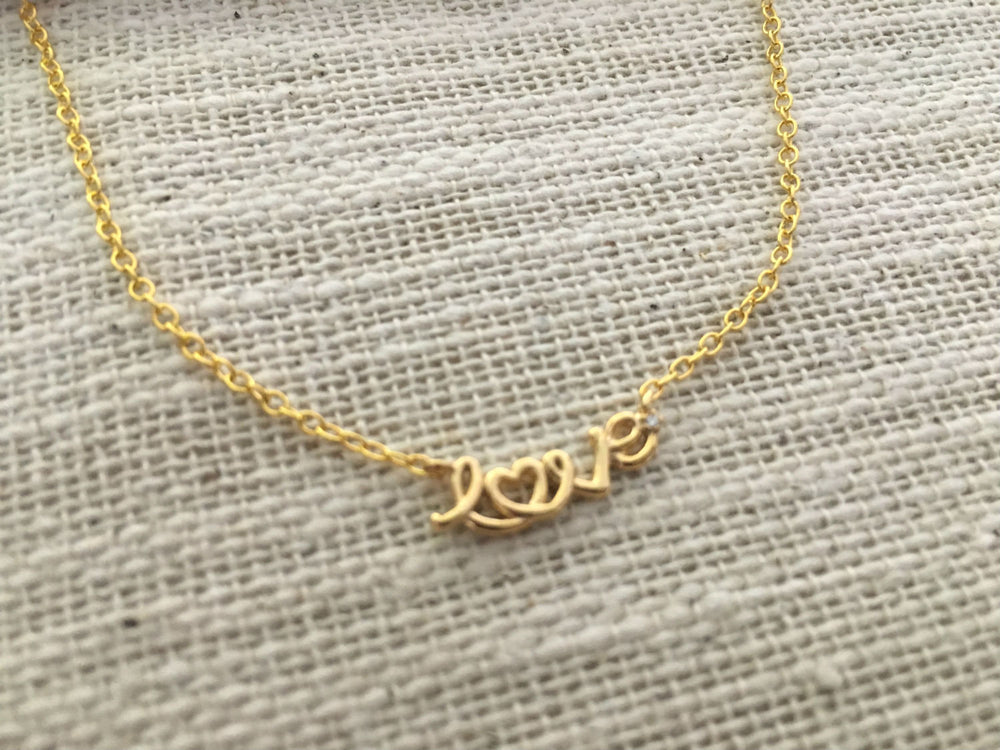 Gold Love Necklace by Handmade Dezigns