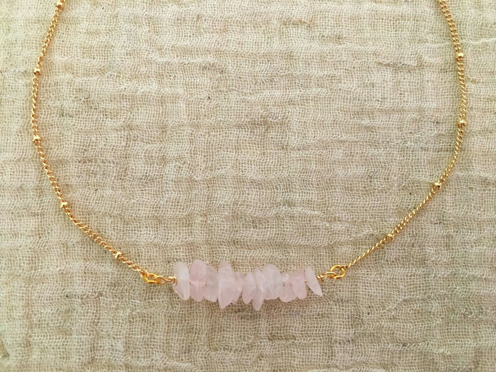Rose Quartz Choker Necklace by Handmade Dezigns