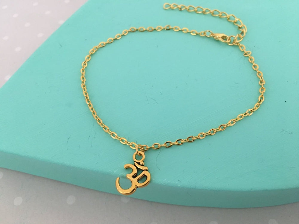 Gold Aum Anklet by Handmade Dezigns
