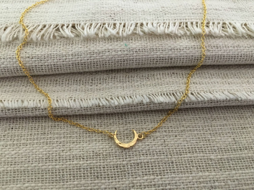 Petite Hammered Gold Crescent Moon Necklace by Handmade Dezigns