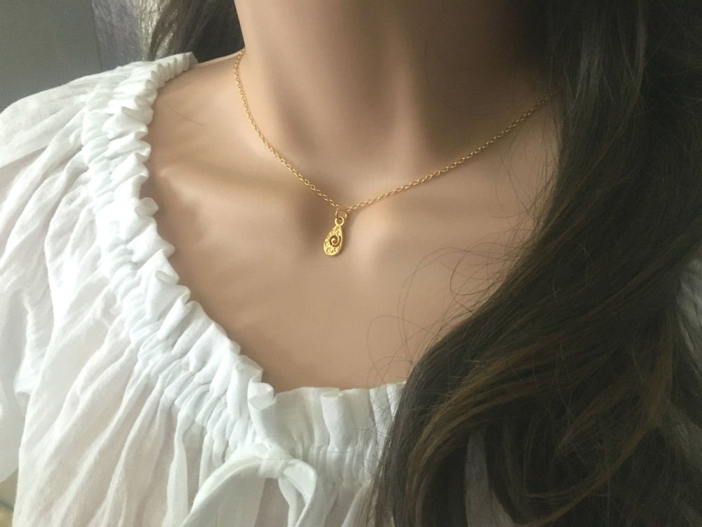 Very Dainty Gold Hammered Teardrop Necklace by Handmade Dezigns