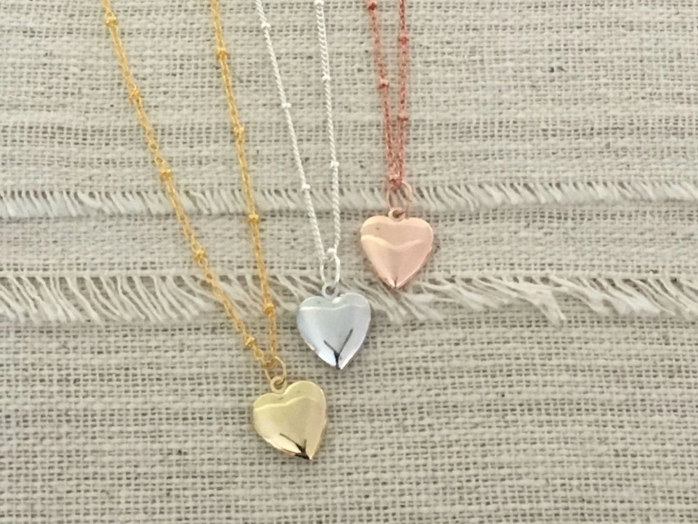 Mini Gold Heart Locket Necklace by Handmade Dezigns