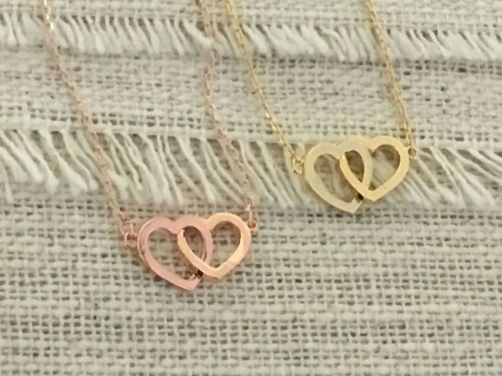 Double Heart Necklace by Handmade Dezigns