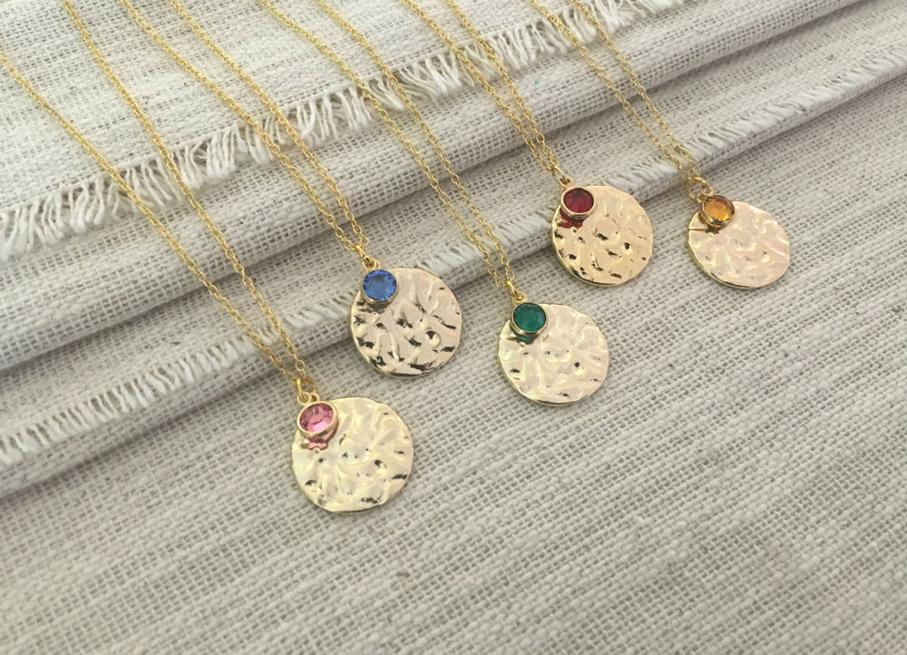 Twinkling Gold Disc Necklace by Handmade Dezigns