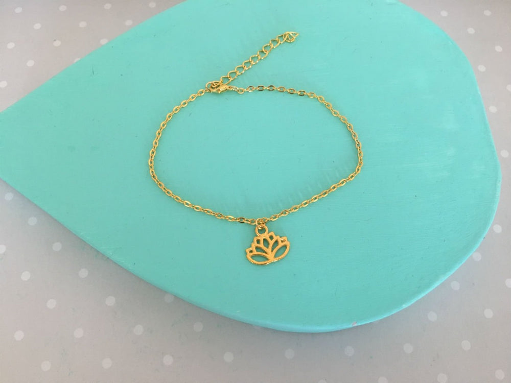 Gold Lotus Anklet by Handmade Dezigns