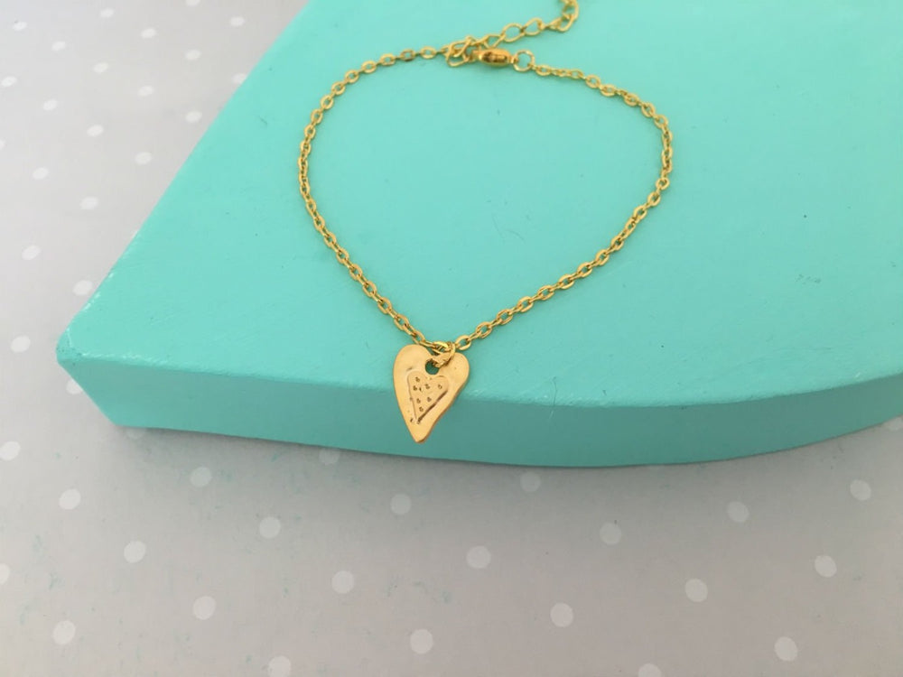 Gold Heart Anklet by Handmade Dezigns