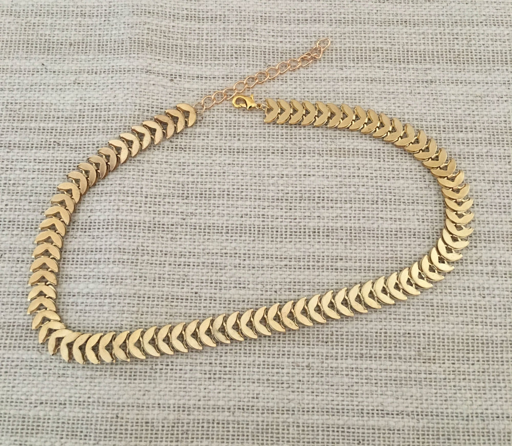 Gold Chevron Choker by Handmade Dezigns