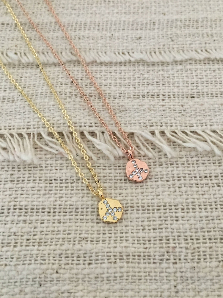 Teeny Tiny CZ Peace Necklace by Handmade Dezigns