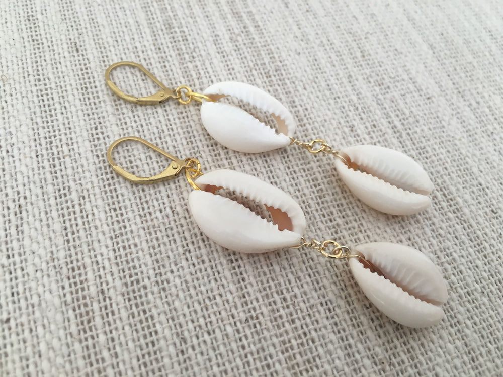 Cowrie Shell Drop Earrings by Handmade Dezigns