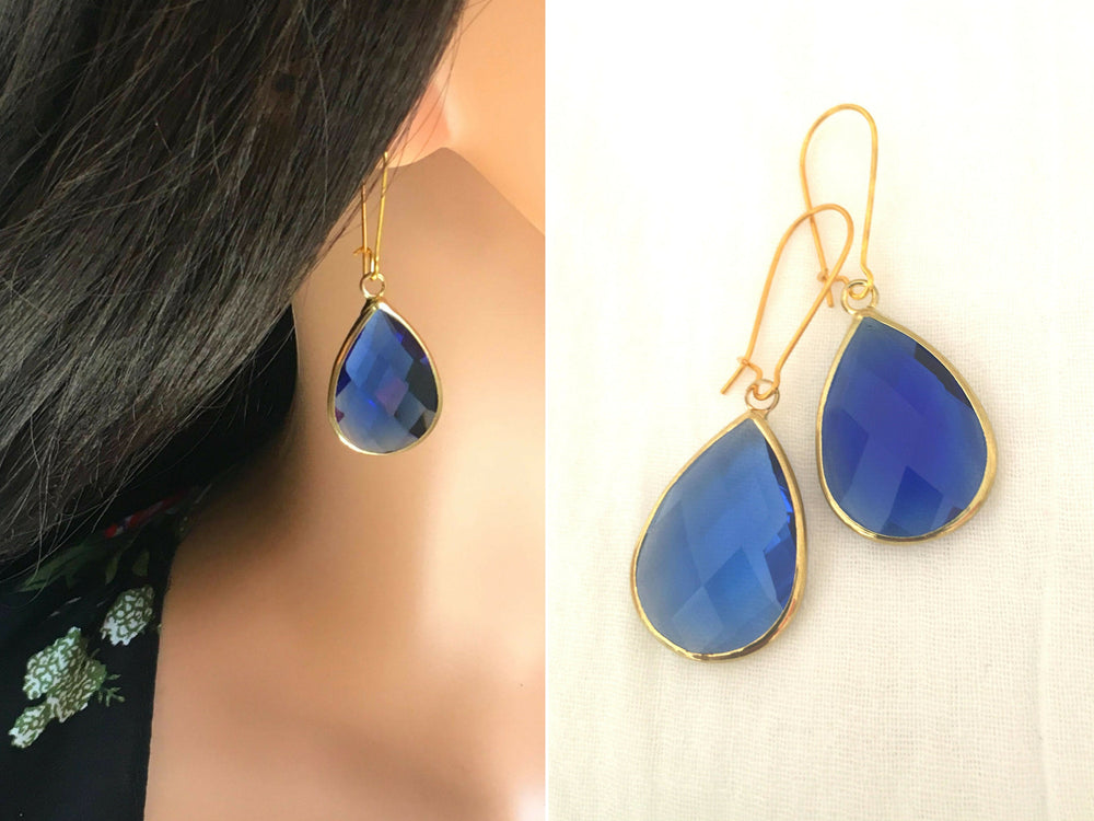 Sapphire Teardrop Chalcedony Earrings