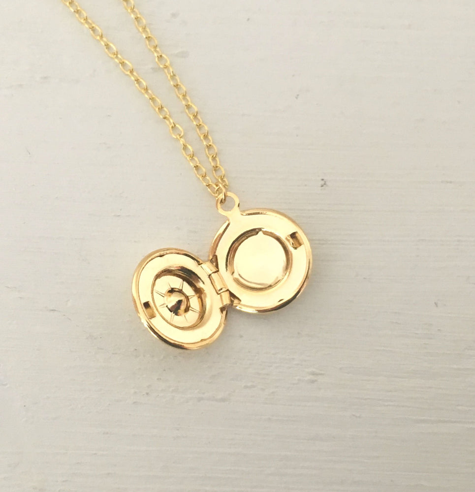 Dainty Gold Locket Necklace by Handmade Dezigns