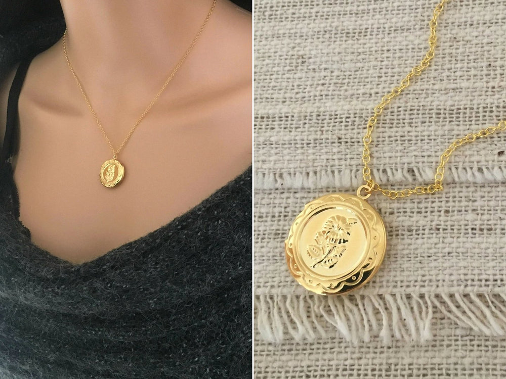 Gold Floral Locket Necklace