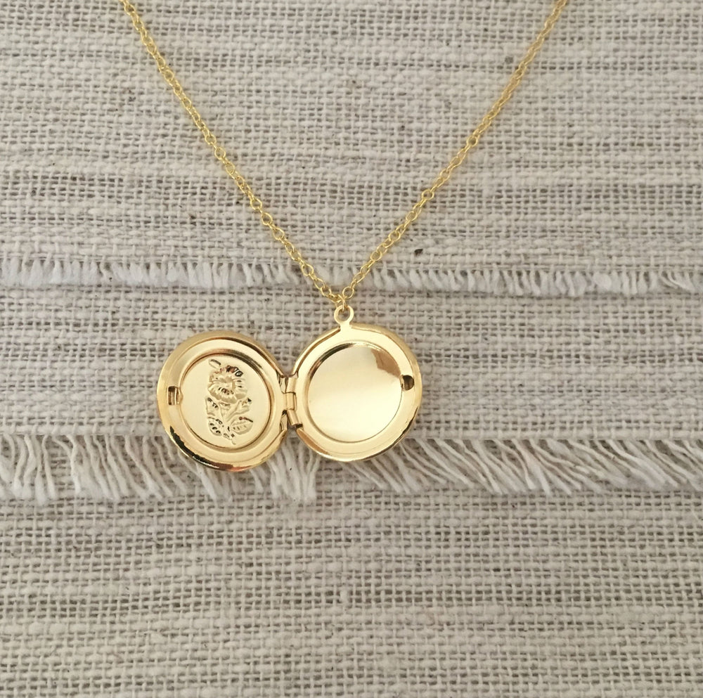 Gold Floral Locket Necklace by Handmade Dezigns