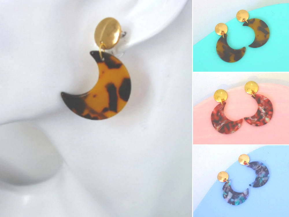 Tortoise Shell Moon Gold Post Earrings