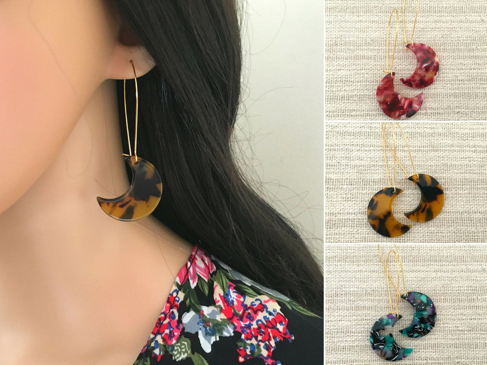 Tortoise Shell Moon Earrings