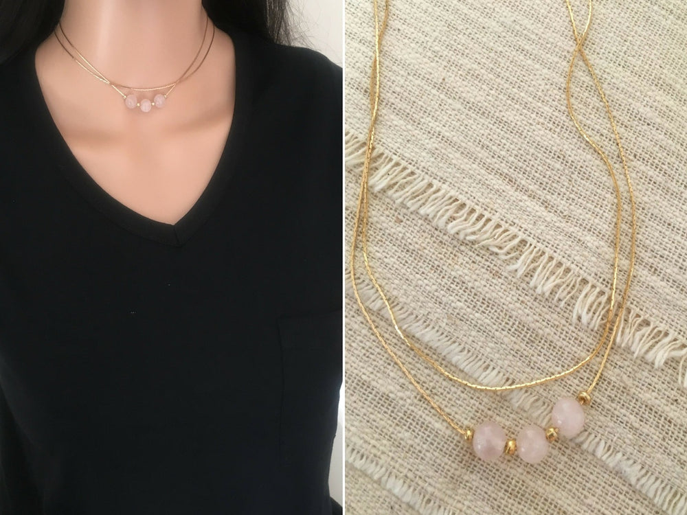 Rose Quartz Multi Strand Necklace by Handmade Dezigns