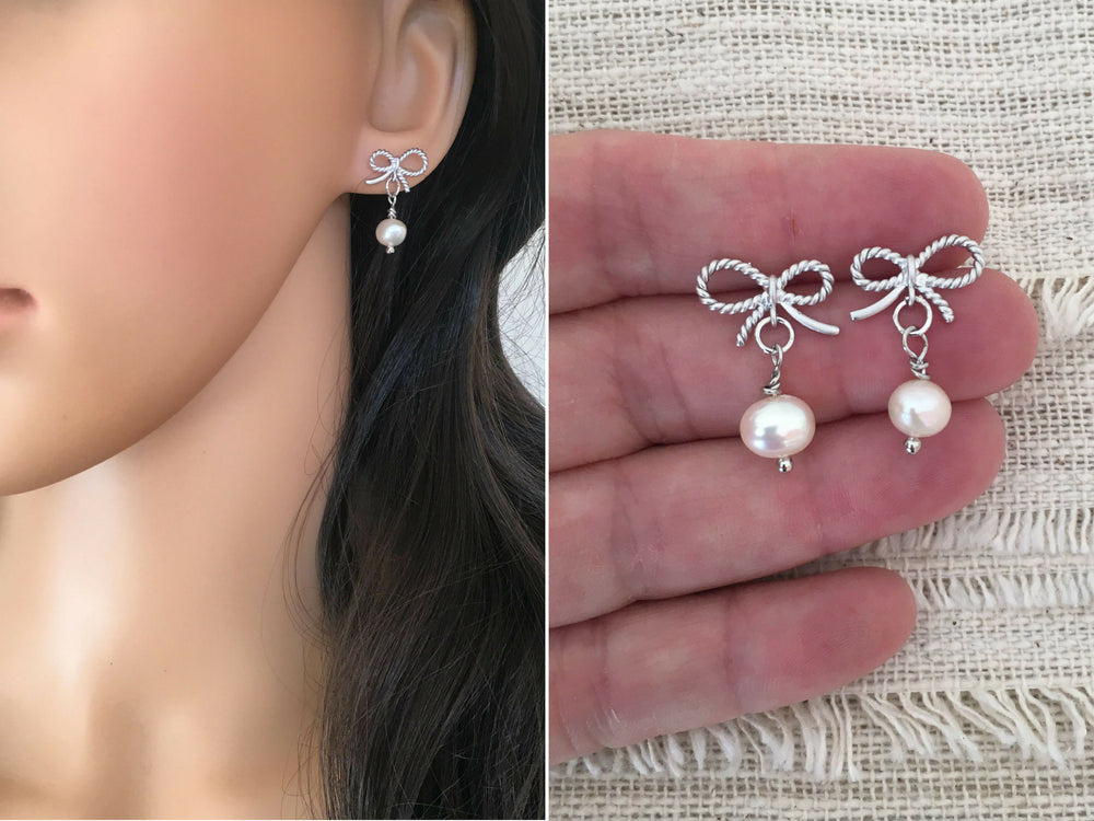 Tiny Silver Bow Stud Earrings