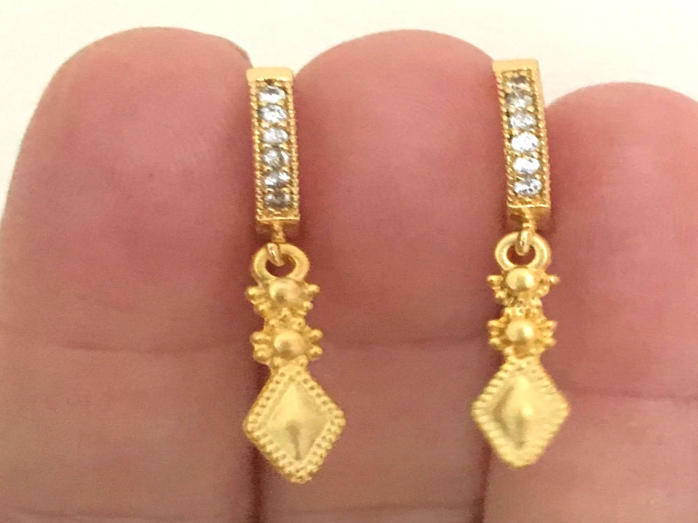 Pave Gold Dagger Hoop Earrings by Handmade Dezigns
