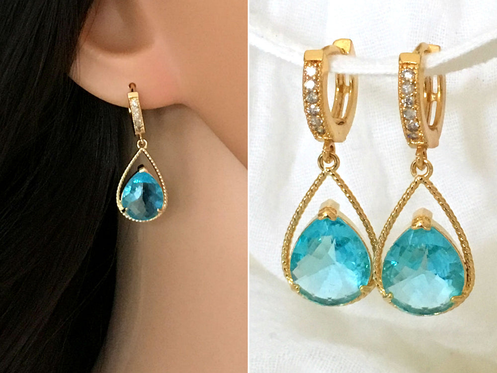 Pave Aquamarine Teardrop Hoops