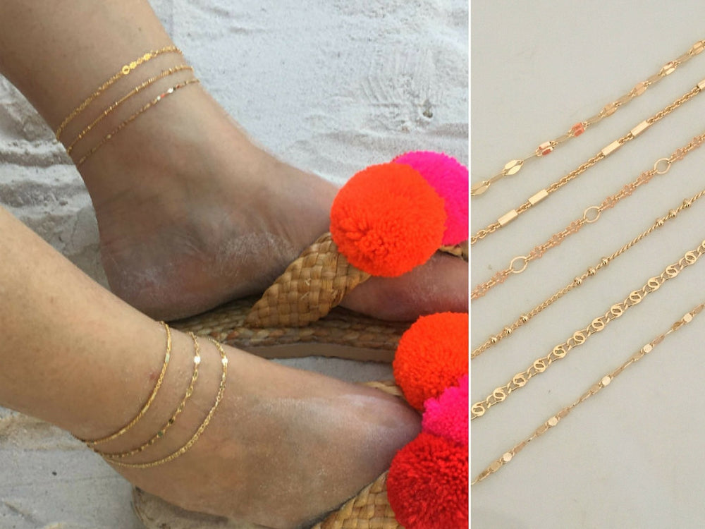 Gold Ankle Bracelet by Handmade Dezigns