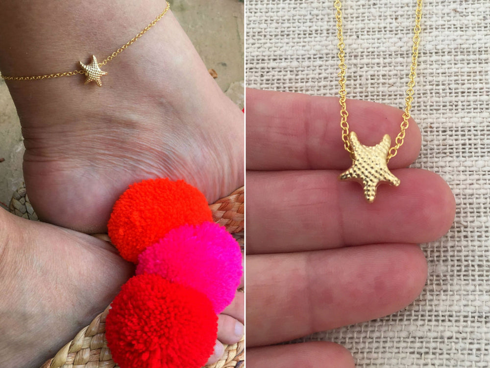 Gold Starfish Ankle Bracelet by Handmade Dezigns