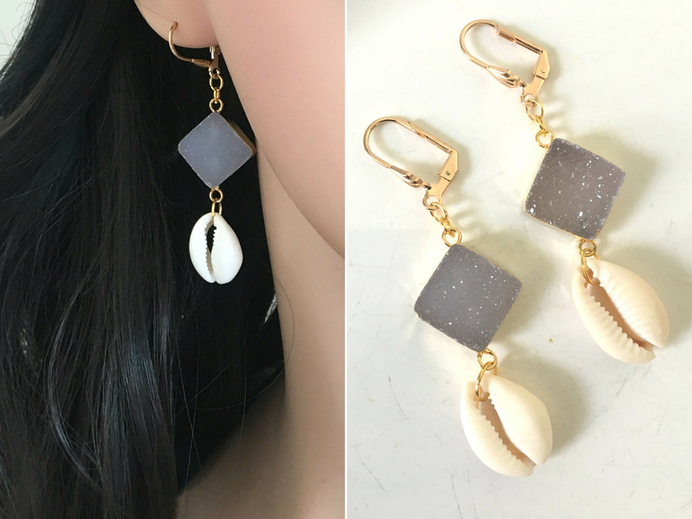 Druzy Drop Earrings by Handmade Dezigns